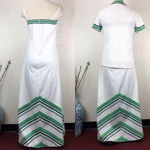 Vintage Dresses - Vintage 70s White & Green Dress & Jacket Set